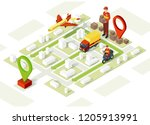 smart delivery isometric... | Shutterstock .eps vector #1205913991