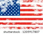 usa flag snowflake background | Shutterstock . vector #1205917807