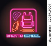back to school with neon light... | Shutterstock .eps vector #1205919004