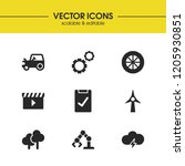 industry icons set with wood ...