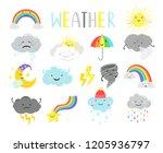 cute weather. cartoon weathers... | Shutterstock .eps vector #1205936797