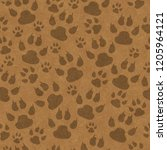 brown cat paw prints seamless... | Shutterstock . vector #1205964121