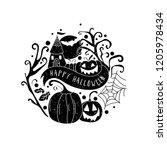art card for happy halloween... | Shutterstock .eps vector #1205978434