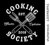 cooking society spatula and... | Shutterstock .eps vector #1205983951