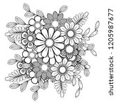 adult coloring page with... | Shutterstock . vector #1205987677