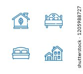 collection of 4 motel outline... | Shutterstock .eps vector #1205988727