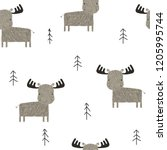 funny elk in the forest... | Shutterstock .eps vector #1205995744