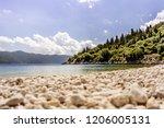 empty pebble beach and green... | Shutterstock . vector #1206005131