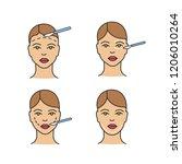 plastic surgery color icons set.... | Shutterstock .eps vector #1206010264