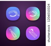 eyebrows shaping app icons set. ...