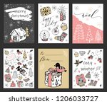christmas cards set. sketch... | Shutterstock .eps vector #1206033727