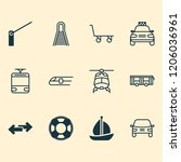 shipping icons set with tram ... | Shutterstock .eps vector #1206036961