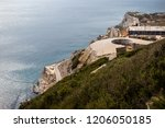 Gibraltar, United Kingdom, 1st October 2018:- Europa Point, seen from the Rock of Gibraltar. Gibraltar is a British Overseas Territory located on the southern tip of Spain. - stock photo