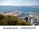 Gibraltar, United Kingdom, 1st October 2018:- View from the top of the Rock of Gibraltar looking North into Spain. Gibraltar is a British Overseas Territory located on the southern tip of Spain. - stock photo