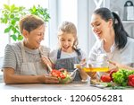 healthy food at home. happy...   Shutterstock . vector #1206056281