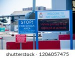 Gibraltar, United Kingdom, 3rd October 2018:- Signs outside RAF Gibraltar. Gibraltar is a British Overseas Territory located on the southern tip of Spain. - stock photo