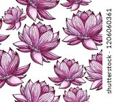seamless pattern whith lotus....   Shutterstock .eps vector #1206060361