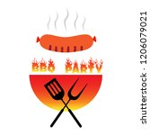 bbq logo party poster vector... | Shutterstock .eps vector #1206079021