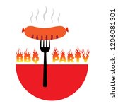 bbq party logo vector... | Shutterstock .eps vector #1206081301