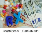 rx medication cost concept with ... | Shutterstock . vector #1206082684