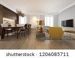 3d rendering modern dining room ... | Shutterstock . vector #1206085711