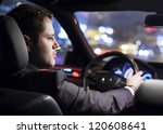 businessman driving a car at... | Shutterstock . vector #120608641