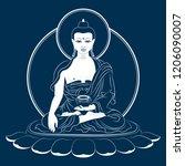 sitting buddha shakyamuni...   Shutterstock .eps vector #1206090007