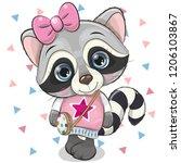 cute cartoon raccoon girl with... | Shutterstock .eps vector #1206103867