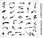 hand drawn arrows  vector set   Shutterstock .eps vector #1206115927
