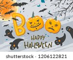 halloween poster with lettering ... | Shutterstock .eps vector #1206122821