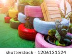 recycle tires wheel on yard ... | Shutterstock . vector #1206131524