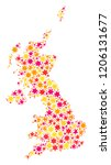 mosaic map of united kingdom... | Shutterstock .eps vector #1206131677