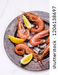 Fresh Shrimps In A Dish With...