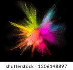colored powder explosion on... | Shutterstock . vector #1206148897