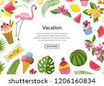 vector flat cute summer... | Shutterstock .eps vector #1206160834