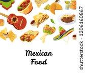 vector cartoon mexican food...   Shutterstock .eps vector #1206160867
