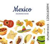 vector cartoon mexican food...   Shutterstock .eps vector #1206160894