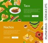 vector cartoon mexican food web ... | Shutterstock .eps vector #1206161191