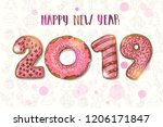 happy new year background. hand ... | Shutterstock .eps vector #1206171847