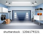 modern spacious garage interior ... | Shutterstock .eps vector #1206179221