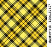 yellow and black tartan plaid... | Shutterstock .eps vector #1206181627