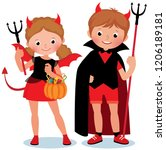 cute cartoon children boy and... | Shutterstock .eps vector #1206189181