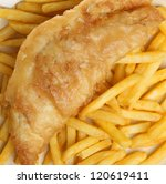 Fish & chips. Battered cod fillet with French fries. - stock photo