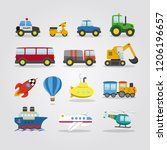 set of cartoon cars  vehicles ... | Shutterstock .eps vector #1206196657