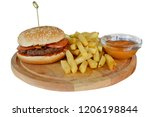 hamburger with fries on white... | Shutterstock . vector #1206198844