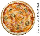 pizza with mushrooms on a white ... | Shutterstock . vector #1206199141