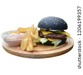 black hamburger with fries on a ... | Shutterstock . vector #1206199357
