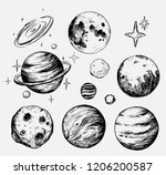 set of space objects  planets ... | Shutterstock .eps vector #1206200587