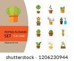 potted flowers icon set. money... | Shutterstock .eps vector #1206230944