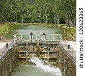 french waterway  lock gate...   Shutterstock . vector #120623365
